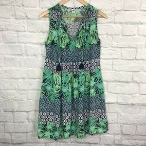Old Navy Small Shift Dress Palm Leaf Tropical Blue